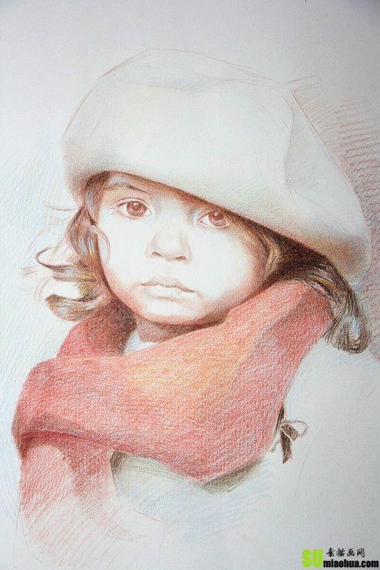 戴帽子小女孩肖像彩色铅笔画绘画步骤教程图片