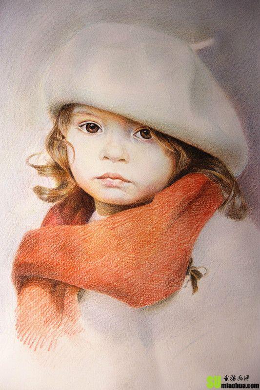 戴帽子小女孩肖像彩色铅笔画绘画步骤教程