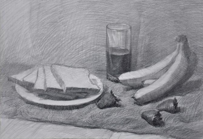 素描静物香蕉面包草莓绘画步骤图图片