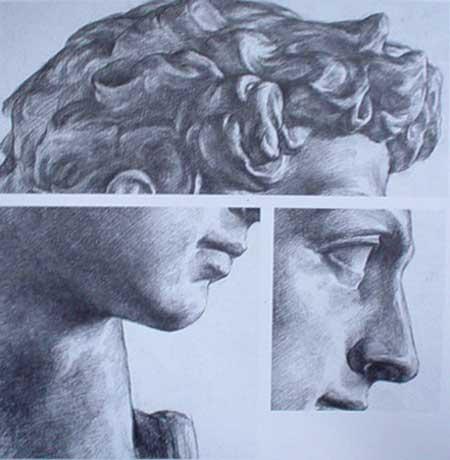 石膏像侧面的绘画