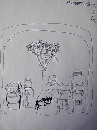 儿童铅笔画瓶子里的世界
