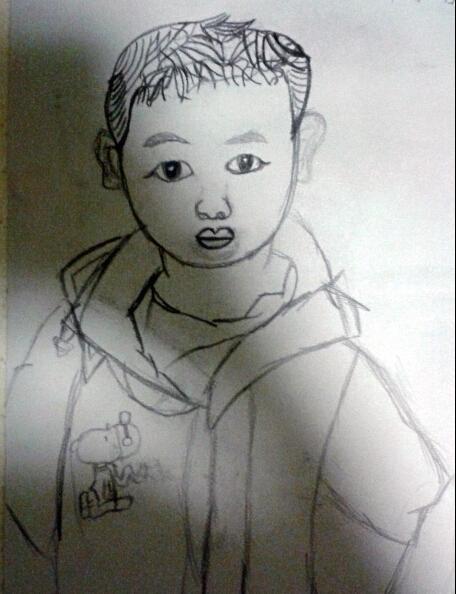 儿童铅笔画小男孩头像作品