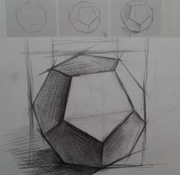 新手素描石膏体多面体的起形方法
