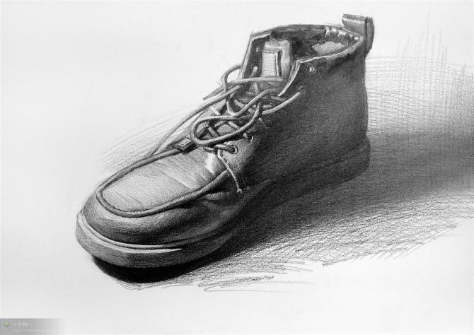 素描高帮皮鞋