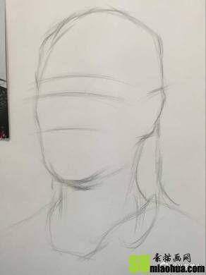 女中年素描头像侧面步骤教程
