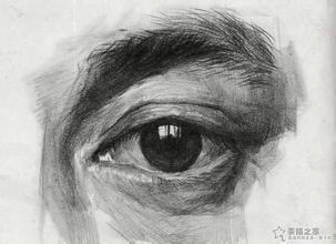 素描男子左眼