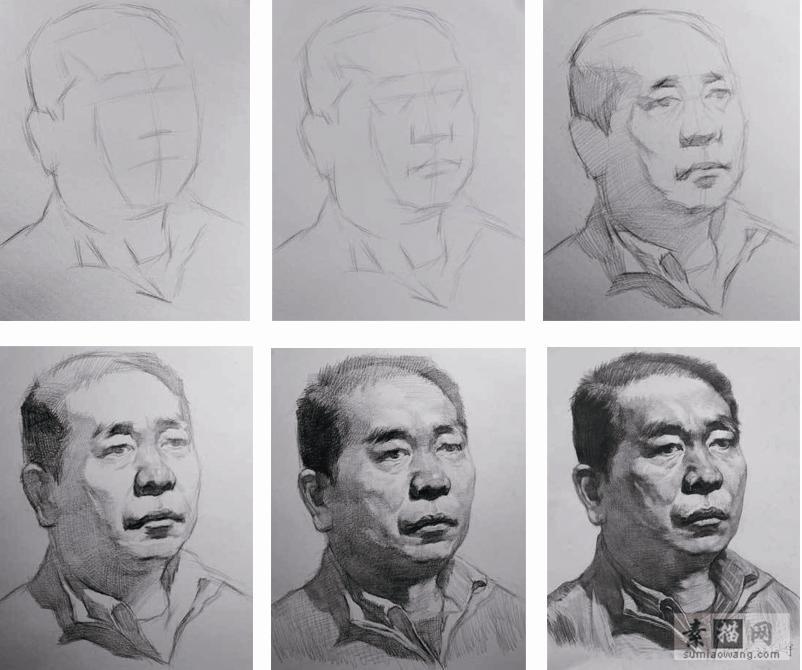素描头像起形过程