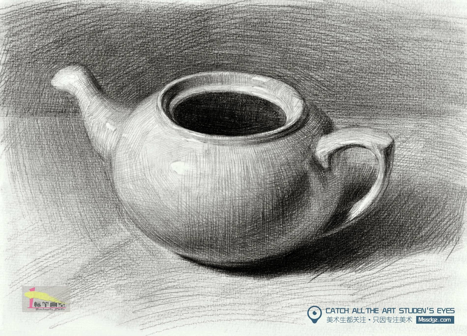 素描无盖茶壶