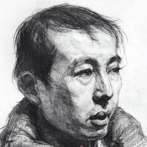 中年男子头像的素描刻画