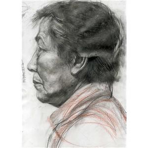 中年男子的纯侧面的素描刻画