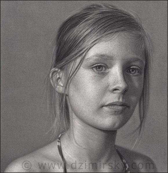 素描肖像外国年轻女孩