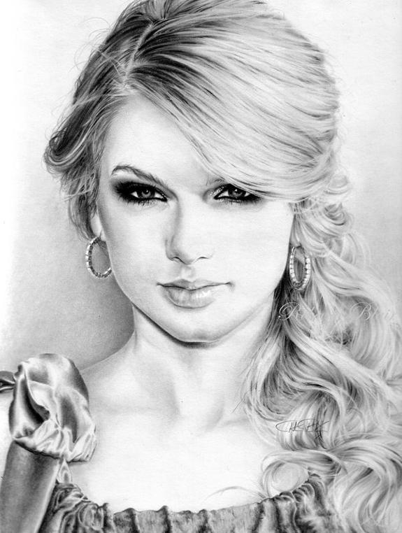 素描国外年轻女性的素描刻画