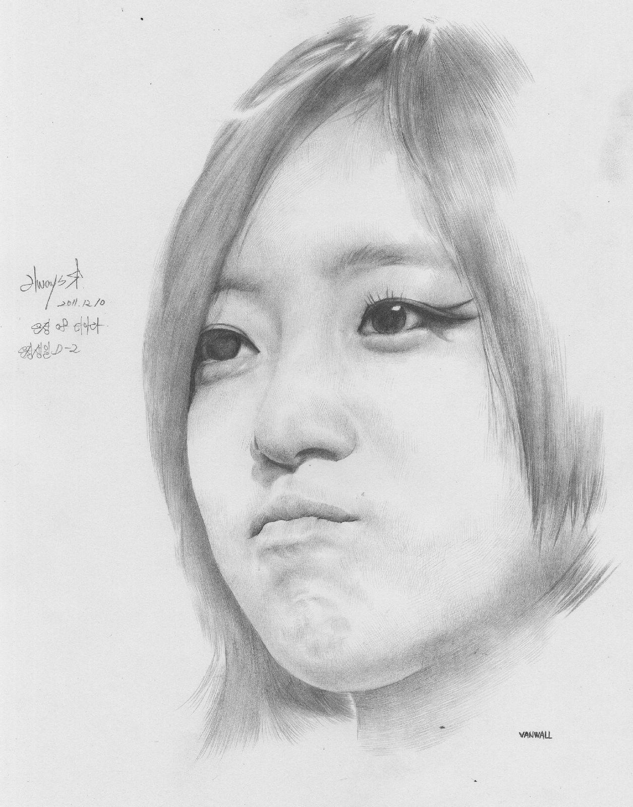 素描年轻女性四分之三仰视肖像刻画