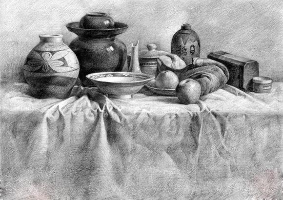 罐子,酒瓶,碗,苹果等一组静物的素描刻画