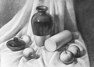 素描静物之罐子,石膏圆柱,梨子与酒精灯