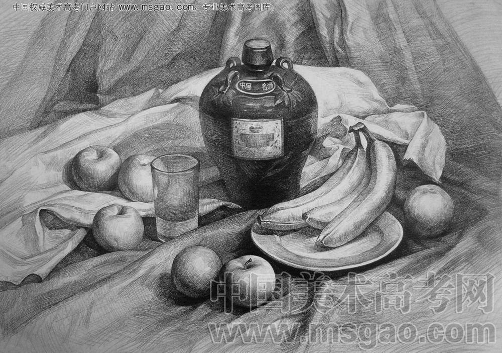 素描静物酒坛子,香蕉,盘子,苹果,杯子等