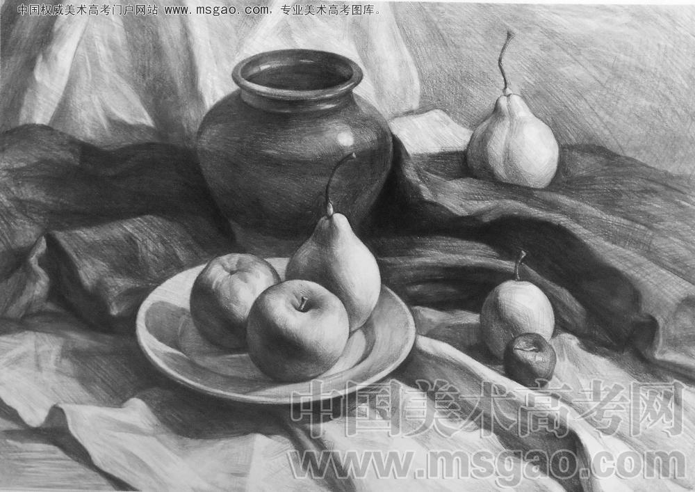 素描陶罐子、与梨子,苹果