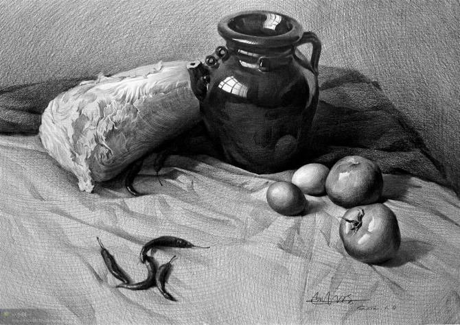 素描抛光的坛子一大白菜,鸡蛋,西红柿,辣椒