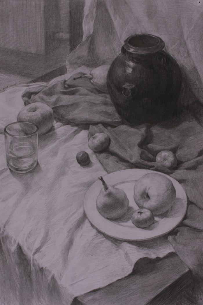 素描坛子,水杯,水果与盘子