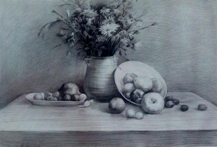 素描花,水果,盘子,桌子