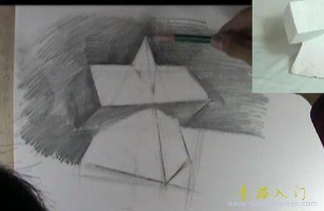 视频:圆锥体几何体素描绘画