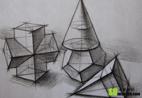 石膏几何体写生 结构画法图片