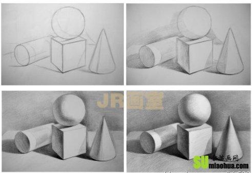 素描知识之明暗石膏几何体的画法与步骤